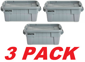 Rubbermaid Commercial Brute Tote Storage Bin With Lid, 14-Gallon Gray FG9S3000