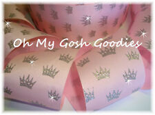 """3"""" Glitter Princess Sparkle Silver Crowns Grosgrain Ribbon 4 Bow * Baby * Pink"""