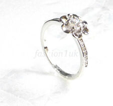 Womens White Gold Plated 9mm Flower Ring Cubic Zirconia Crystal Size L M UK US 6