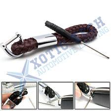 Braided Brown Leather Strap Key Chain Ring Universal Fits Car Key Fob Keychain