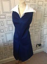Mini Vestido Vintage años 60 contraste en cuello azul y blanca Mod Scooter Reino Unido 12-14 Med