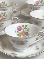 VINTAGE LOT OF 5 ROSE CHINA CUP AND SAUCER MADE IN OCCUPIED JAPAN