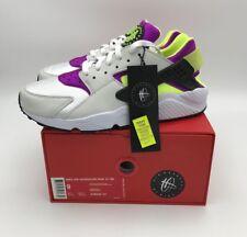 Nike Mens 9 Air Huarache Run '91 QS White Black Neon Yellow Magenta AH8049 101