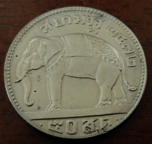 Thailand 1929 Silver 1/2 Baht (50 Satang) AU with minor hairlines