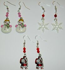 CHRISTMAS EARRINGS LOT-SET OF 3 PAIR-SANTA CLAUS/PINK SNOWMAN/WHITE SNOWFLAKES
