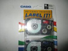 "CASIO EZ LABEL PRINTER CARTRIDGE 2 CARTRIDGES 3/4"" XR-18WE2S WHITETAPE BLACKINK"