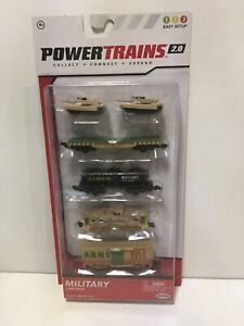 Power Trains 2.0 Military Car Pack  4 Train Cars & 2 Tanks New Sealed