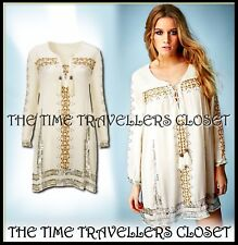 KATE MOSS TOPSHOP WHITE FOLK SEQUIN EMBROIDERED SMOCK TUNIC DRESS BOHO UK 6 8 10