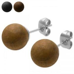1 Pair Wooded Beads Studs Earrings Wood Braun Light Brown Black Round Pearl
