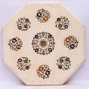 Indian Table Encrusted Marble Semi-precious stones Handmade Table Inlay Coffee C