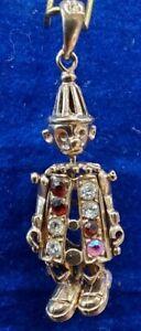 9ct Gold Articulated Clown Gem Set Pendant