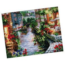 Cross Stitch Kits Embroidery Kit - The Lakeside House (Stamped) 14CT 48x40cm