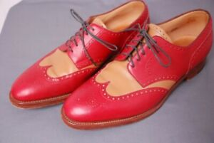 """JOHN LOBB """"Darby"""" men's wingtip spectator shoes red and camel UK 11E US 12 D"""