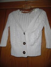 Womens Aeropostale V Neck Hooded Cable Knit  Sweater Ivory Sz  S/P