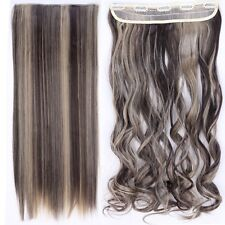Real Long 100% Natural Extensions Clip in HAIR EXTENTIONS 5 Clips On Human PS8