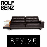Rolf Benz Vero Leather Sofa Braun Dark Brown Three-Seater Table Tray #14461