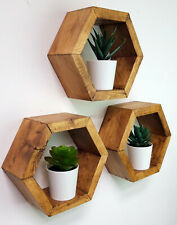 Wood hexagon Floating Storage Shelf Shelving wooden rustic scandi modern 3 set