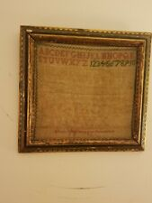 Antique Alphabet Needlework Sampler In Original Folk Art Painted Wood Frame