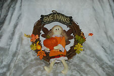 GIVE THANKS HARVEST FALL THANKSGIVING RUSTIC GRAPEVINE WREATH DECORATION PLAQUE