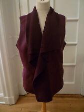 NWT: LAFAYETTE 148 Plum Purple Leather Vest w/ Wool Shawl Collar, XL