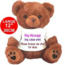 """Personalised teddy bear brown 30CM/12"""" MANY DESIGNS BIRTHDAY ANY OCCASION"""