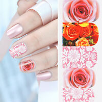 Nail Art Water Decals Stickers Transfers Pretty Pink Lace Flowers Gel Polish 558