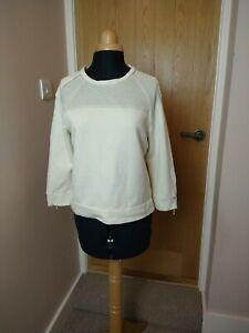 Zara Basic Cream Sweatshirt size S 10 Jumper Zip Back Good Condition