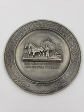 Vintage German Pewter Wall Hanging Plaque Frieling Germany farmer horses