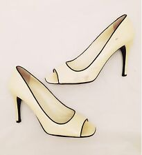 Women's - PRADA - Black Lined Cream Patent Leather Heels Open Toe Pumps 8 / 38.5