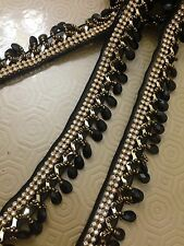 Black Beaded Teardrop Trim Curtain Blind Bead Fringe Trimming 1Yard X 30mm