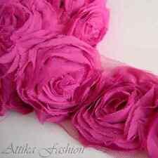 Pink Magenta CHIFFON Mesh Frayed LACE TRIM × 1y 12 Large Flower Applique Motifs