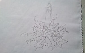 Tray Cloth to embroider Christmas Candle 100% Cotton with lace edge CSOO69