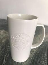 Starbucks Etched Siren Mermaid Logo Tall White Coffee Mug 16 oz
