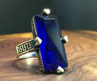 Turkish Handmade Jewelry Sterling Silver 925 Sapphire Ladies Ring 7 8 9 10