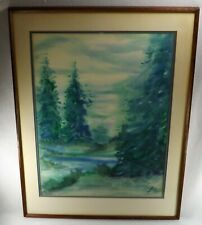Vtg. Hand Painted Forest Scene Signed Thurman Poss. Pastels Framed Walnut Frame