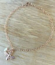 Bee Charm Bracelet Chain With Pearl Rose Gold