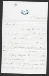 A most attractive 1865 letter on headed paper, being signed by Rowland Hill.