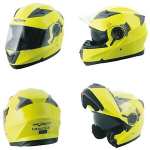 Motorcycle Flip Up Inner Sun Visor Jet Helmet Shield Apparel Modular yellow fluo