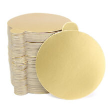 200pcs Round Cake Board Golden Paper Plates Mousse Cupcake Displays Tray 8CM OZ