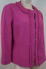 MAXMARA STUDIO Hot Pink Cotton Blend Textured Fringed Round Neck Blazer Jacket