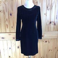 Vintage LAURA ASHLEY Black Velvet Long Sleeve Beaded Dress Size 10