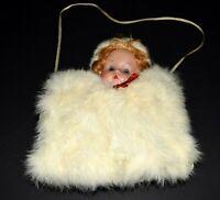 Vtg 1950s White Rabbit Fur with Blonde Blue Eye Hat Doll Head Hand Warmer Muff