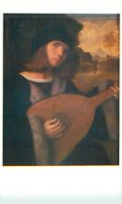 B026 ART postcard GIOVANNI CARIANI Young Man Lute RA exhibition Old Master