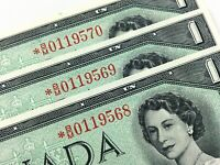 1954 Canada 1 One Dollar 3 Consecutive Uncirculated BM Replacement Banknote R186