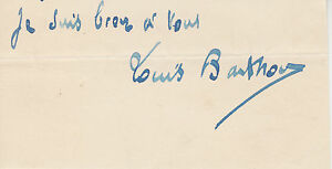 Jean Louis Barthou, Prime Minisiter of France, signature on small piece