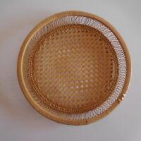 Corbeille service de table ronde bois rotin fait main France Art Déco XXe N3254