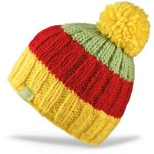 Dakine FARLEY Kids Youth Fleece In-Band Beanie Yellow Red Green NEW