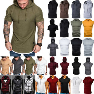 Mens Slim Fit Hoodie Hooded Tank Top Muscle T-Shirt Fitness Sports Casual Blouse
