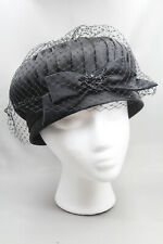 Vtg Women's Black Satin Cloche Hat with Tulle, Satin Ribbon & Sequins Union Made