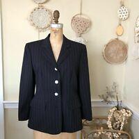 Vintage 1980s Escada by Margaretha Ley Navy Women's Designer Wool Blazer 8